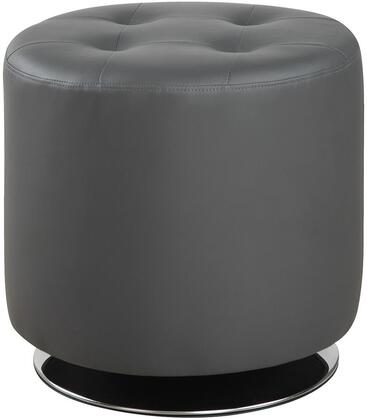 "Coaster Ottomans 17.75"" Circular Ottoman with Tufted Seat, Swivel Function, Chrome Base and Leatherette Upholstery in"