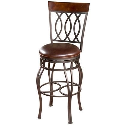 "American Heritage Bella Series 126714PP-L 26"" Traditional Leather Counter Stool with 360 Degree Full Bearing Swivel, 3"" Cushion, Adjustable Leg Levelers, and Webbed Seating"