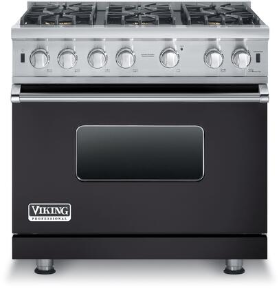 "Viking VGCC5366BXXLP 36"" Professional 5 Series Liquid Propane Gas Range with 6 Sealed Burners, VSH Pro Sealed Burner System, ProFlow Convection Baffle and SureSpark Ignition System, in"
