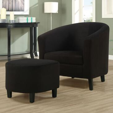 Monarch I 805 Accent Chair, with Curved Back Design, Slender Tapered Wood Legs, and Ottoman