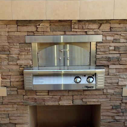 "Alfresco ALFPZABI 30"" Pizza Oven Plus for Built-In Installations with 456 Sq. in. Cooking Surface, 40,000 BTUs, Ceramic Gas Log Rear Burner, and Removable Arch and Doors in Stainless Steel"