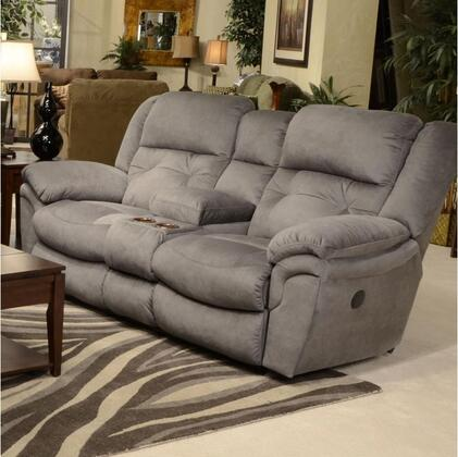 """Catnapper Joyner Collection 79"""" Lay Flat Reclining Console Loveseat with Cup Holders, Tufted Back, Top-Stitching Treatment and Durable Faux Leather Fabric Upholstery"""