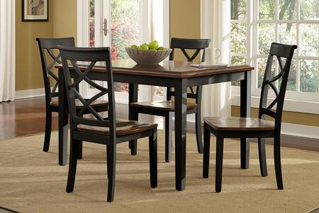 Powell Harrison Collection 14D2041X 5-Piece Dining Room Set with Dining Table and 4x Side Chairs in