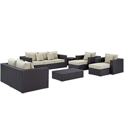 Modway Convene Collection EEI-2161- 9-Piece Outdoor Patio Sofa Set with Rectangle Ottoman, Loveseat, Sofa, 2 Armchairs, 2 Ottomans and 2 Side Tables in