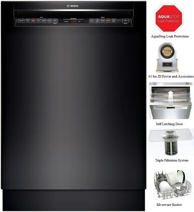 "Bosch 800 Series SHE68T5 24"" 16 Place Setting Capacity Recessed Handle Built In Dishwasher With Touch Control Technology, Detergent Tray, Load Size Sensor, Sanitize Option & In"