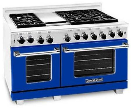 American Range ARR484GDGRLBU Heritage Classic Series Liquid Propane Freestanding Range with Sealed Burner Cooktop, 4.8 cu. ft. Primary Oven Capacity, in Sapphire Blue