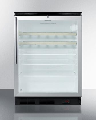 Summit SCR600LPUBBISHWOx Wine Coolers with 5.5 cu. ft. Capacity, Commercially Approved, Tempered Glass Door, Door Lock, Adjustable Shelves, Interior Liner, Reversible Door, Built In Capable, Digital Thermostat and CFC Free, in Stainless Steel