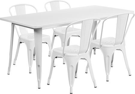 Flash Furniture ETCT005430WHGG Rectangular Shape Patio Sets