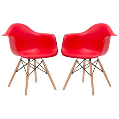 EdgeMod EM110NATREDX2 Vortex Series Modern Wood Frame Dining Room Chair