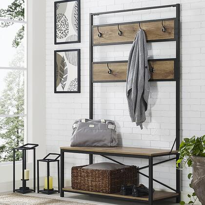 """Walker Edison HT72MWXX 72"""" Industrial Metal and Wood Hall Tree with 7 Hooks, Powder Coated Metal and Bottom Shelf in"""