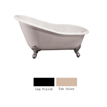 """Barclay CTS7H62 62"""" Hastings Cast Iron Slipper Tub with Overflow and 7"""" Rim Holes and Feet Finished in:"""