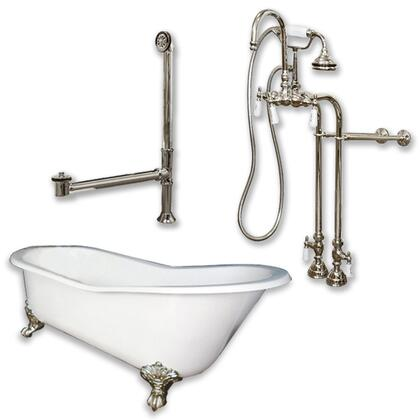 """Cambridge ST61398684PKG Cast Iron Slipper Clawfoot Tub 61"""" x 30"""" with no Faucet Drillings and Complete Free Standing English Telephone Style Faucet with Hand Held Shower Assembly Plumbing Package"""