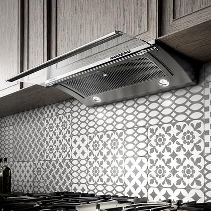 Elica EGL43XSS Aspire Series Glide Slide Out Under Cabinet Hood with 450 CFM Internal Blower, 1 Dishwasher-Safe Stainless Steel Mesh Filter, 4 Fan Speeds, Electronic Push Button, and 2 Halogen Lights: Stainless Steel