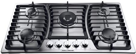 Hallman HGC Gas Cooktop with Tri-Ring Power Burner, up to BTUs and Sabaf Burners in Stainless Steel