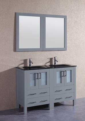 "Bosconi AGR224BGUX XX"" Double Vanity with Black Tempered Glass Top, Integrated Sink, F-S01 Faucet, Mirror, 4 Doors and X Drawers in Grey"