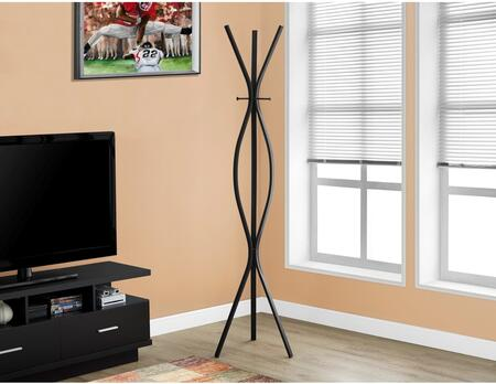 "Monarch I 205X 72"" Coat Rack with 2 Hanging Pegs, Contemporary Design and 3 Hooks"