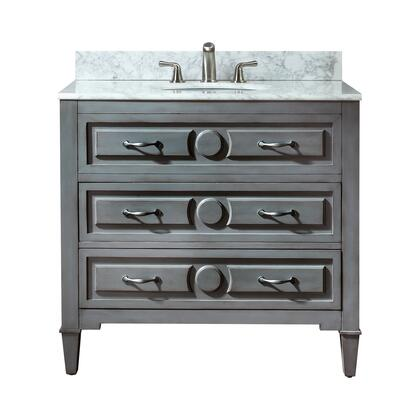 """Avanity KELLY-V Kelly 36"""" Vanity, with Old Nickel Finished Hardware, 2 Soft Closed Drawers, and Adjustable Height Levelers, in Grayish Blue Finish"""