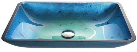 """Kraus CGVR204RE10 Multicolor Series 22"""" Irruption Blue Rectangular Vessel Sink with 15-mm Tempered Glass Construction, Easy-to-Clean Polished Surface, and Included Waterfall Faucet"""