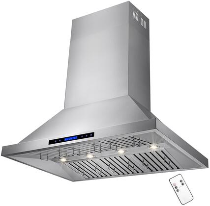 "AKDY RH01x 48"" Dual Motor Island Range Hood with 820 CFM, 65 dBA, 4 Halogen Lighting, 6 Stainless Steel Baffle Filters and Touch Panel Controls, in Stainless Steel"