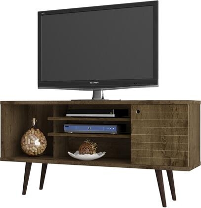 """Manhattan Comfort Liberty Collection 200AMCXX 53"""" Mid Century - Modern TV Stand with Solid Wood Legs, 5 Shelves and 1 Door in"""
