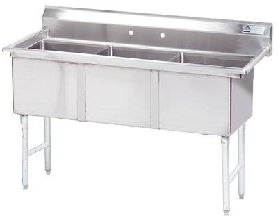 """Advance Tabco FC-3 Three-Compartment Fabricated Sink with 16"""" x 20"""" Bowl and Backsplash in Stainless Steel"""