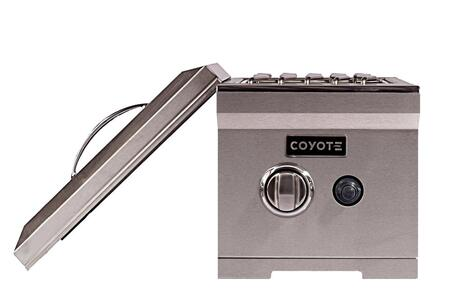 """Coyote CSSB 12"""" Single Side Burner with Premium Stainless Steel Construction, 15,000 BTU Brass Burner, and Stainless Steel Lid Included in Stainless Steel"""