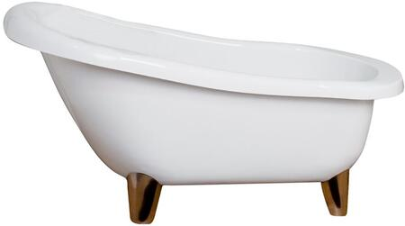 """Barclay ASN67MWH Jacob 67"""" Acrylic Slipper Bathtub with No Faucet Holes, 52 Gallon Capacity, and Modern Feet in:"""