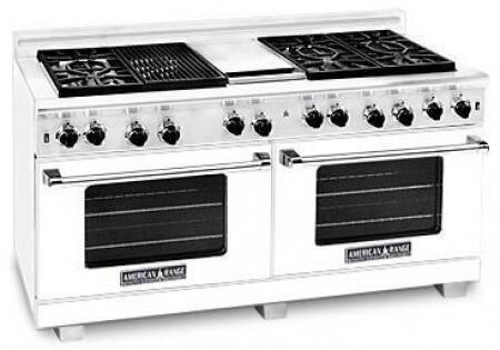 American Range ARR6062GDLW Heritage Classic Series Liquid Propane Freestanding Range with Sealed Burner Cooktop, 4.8 cu. ft. Primary Oven Capacity, in White
