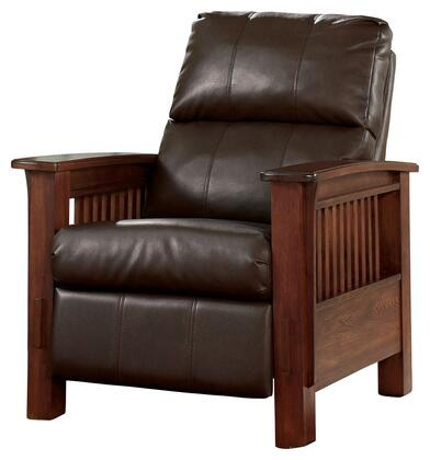 Signature Design by Ashley Santa Fe 1990X26 High Leg Recliner with Mission Styled Showood Frame, Faux Leather Upholstery and Supportive Bustle Back Cushioning in