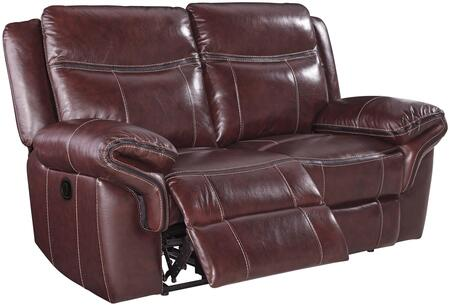 "Milo Italia Adolfo Collection MI-4260-LS-RED 70"" Leather Match Reclining Loveseat with Contrast Stitching, Thick Padded Arms and Gently Distressed Upholstery in Mahogany Color"