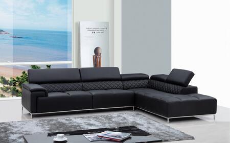 VIG Furniture VGKNK8482ECOBLK Divani Casa Citadel Series Sofa and Chaise Sofa