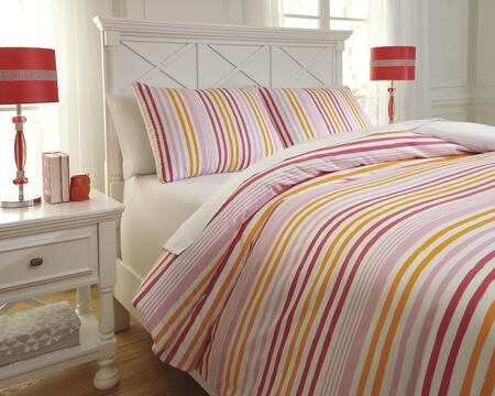 Signature Design by Ashley Genista Q74100 PC Size Duvet Cover Set includes 1 Duvet Cover and Standard Sham with Horizontal Striped Design, 200 Thread Count and Cotton Material in Multi Color