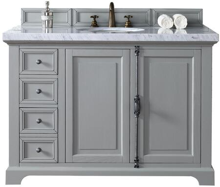 "James Martin Providence Collection 238-105-V48-UGR- 48"" Urban Gray Single Vanity with Plantation Style Hardware, Two Soft Close Doors, Three Soft Close Drawers and"