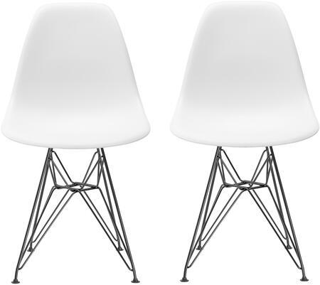 EdgeMod EM104BLKWHIX2 Padget Series Contemporary Metal Frame Dining Room Chair