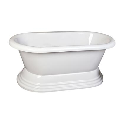 """Barclay ADR60B Calypso 60"""" Acrylic Double Roll Top Soaking Tub, with White Tub Finish, No Overflow, with Moulded Pedestal Base in White Finish,"""