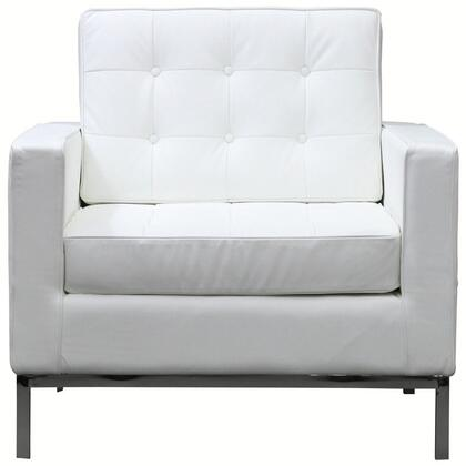 Modway EEI183WHI Loft Series Leather Armchair with Metal Frame in White