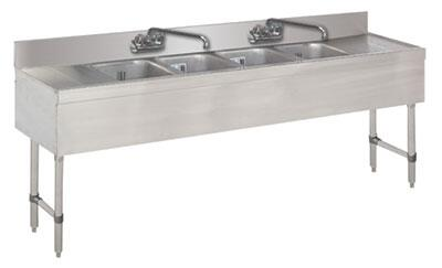 "Advance Tabco 64C-X Lite Series Four-Compartment Underbar Sink with 4"" Backsplash, Drainboards and Faucet in Stainless Steel"