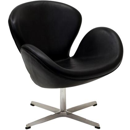 Modway EEI527BLK Wing Series Armchair Leather Metal Frame Accent Chair