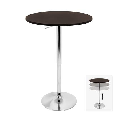 "LumiSource BT-ADJ23TW 23"" Adjustable Bar Table with Adjustable Height, MDF Top and Chrome Base in"