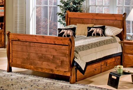 Chelsea Home Furniture 3524489-4491-X Full Sleigh Bed with Storage, Rustic Style, and All Pine Wood Construction in Cocoa
