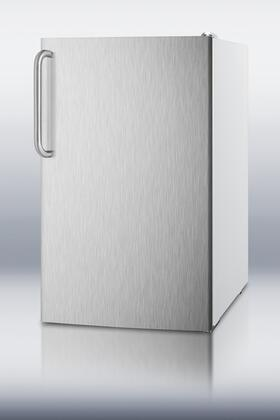 Summit CM4057SSTB  Freestanding Counter Depth Compact Refrigerator with 4.1 cu. ft. Capacity, 2 Wire ShelvesField Reversible Doors