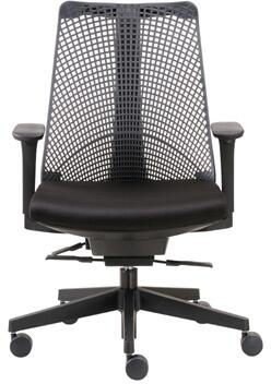 """Boss B6550 38"""" Contemporary Executive Chair with Unique Design, Frameless Flexible Molded Mesh Back, Molded Foam Seat, Adjustable Height Arms, Self-Adjusting Synchro-Tilt Mechanism, and Large 27"""" Nylon Base in Black"""