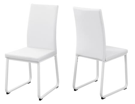Monarch I110SH Set of (2) Dining Chair with Leather-Look Upholstery and Metal Legs in