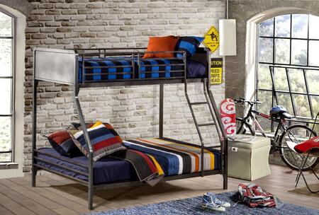 Hillsdale Furniture 1265B Urban Quarters Bunk Bed with Punched Hole Detailing, Ladder and Metal Construction in Black Steel Color