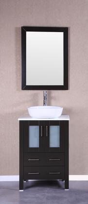 Bosconi Bosconi Vanity Set with Pheonix Stone Top, White Oval Ceramic Vessel Sink, Mirror , Faucet, Drawres and Soft Closing Doors