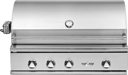 """Delta Heat DHBQ38xx-Cx 38"""" Built-In Premier Outdoor Grill with 304 Stainless Steel Construction, Stainless Steel U-burners, 625 sq. in. Grilling Space, Temperature Gauge, in Stainless Steel"""