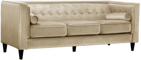 "Meridian Taylor Collection 642-S 84"" Sofa with Top Quality Velvet Upholstery and Accent Pillows in"