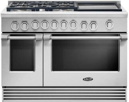 "DCS RGV2485GD 48"" Gas Range with 5.3 Cu. Ft. Primary Oven Capacity, 5 Sealed Dual Flow Burners, Griddle, Convection Bake Function, and Flat Vent Trim: Stainless Steel"