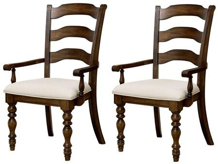 "Hillsdale Furniture 5248804 Set of 2 Pine Island 40.25"" Arm Chairs with Ivory Seat Upholstery, Ladder Back and Solid Pine Construction in"