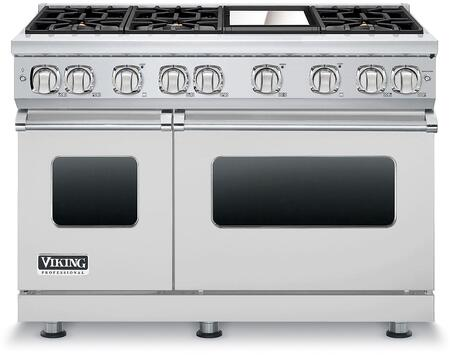 """Viking VGR7486GLP 48"""" Professional 7 Series Liquid Propane Gas Range with 6 Sealed Burners and Griddle, SureSpark Ignition System and VariSimmer Setting, in"""